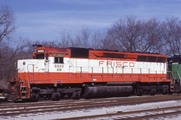 SD45 6682 (Frisco 934) at Birmingham, Alabama in March 1982 (Lon Coone)