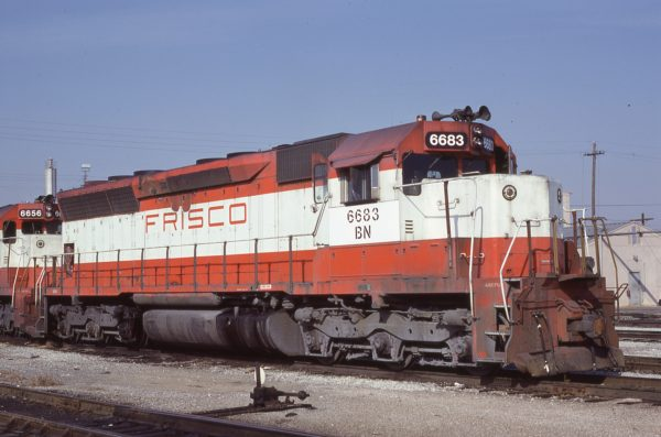 SD45 6683 (Frisco 935) at Memphis, Tennessee in February 1981 (Lon Coone)