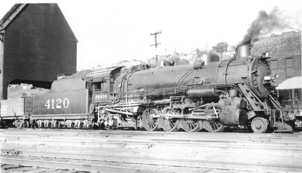 2-8-2 4120 at Kansas City, Missouri on July 6, 1947 (Arthur B. Johnson)