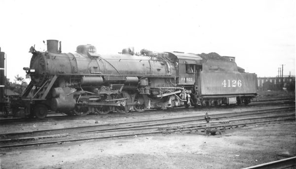 2-8-2 4126 at Springfield, Missouri on April 18, 1948 (Arthur B. Johnson)