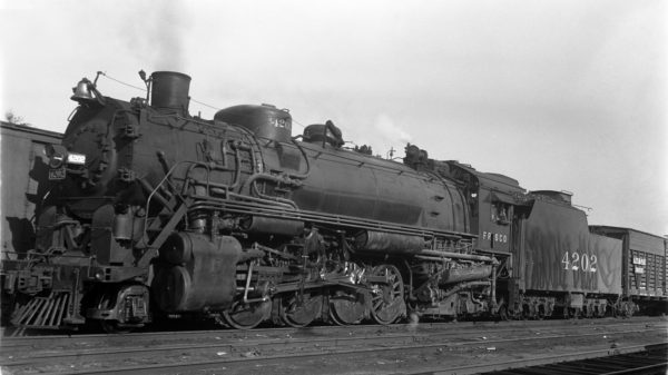 2-8-2 4202 at Kansas City, Missouri in February 1937 (J.T. Boyd)
