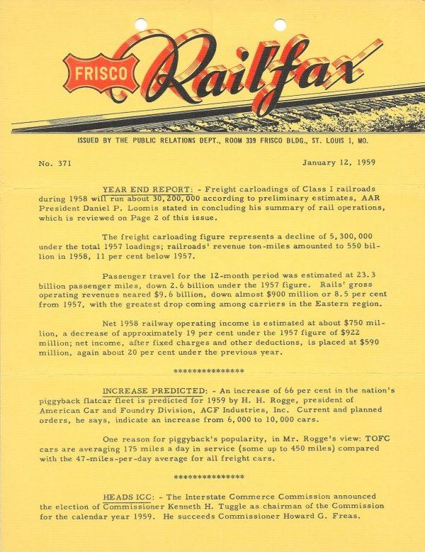 Railfax 371 - January 12, 1959