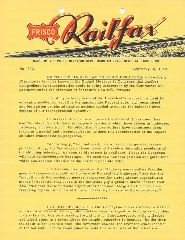 Railfax 372 - February 16, 1959
