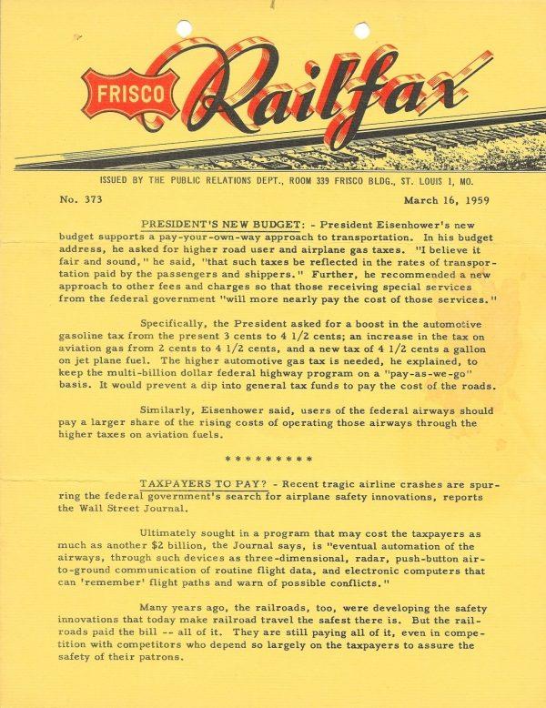 Railfax 373 - March 16, 1959