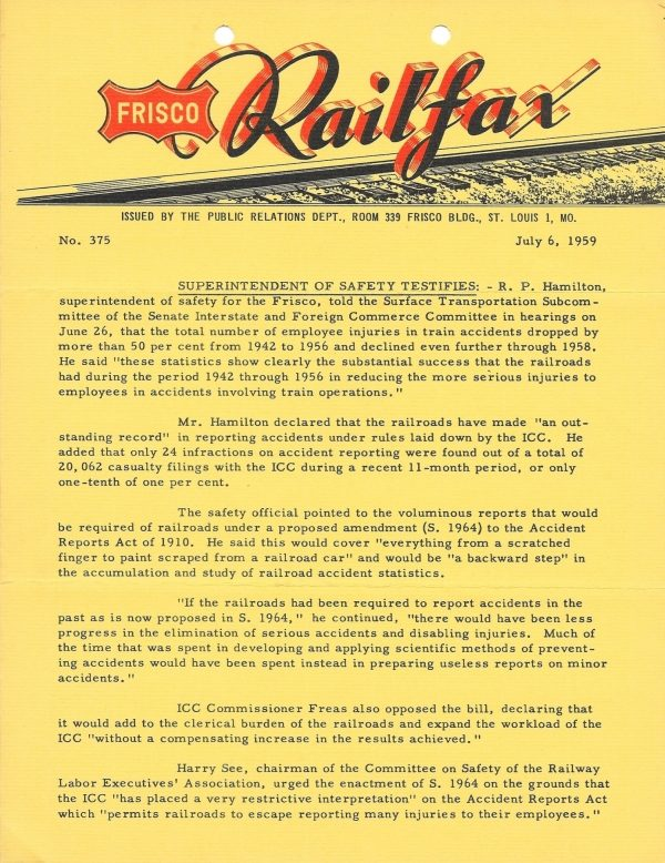 Railfax 375 - July 6, 1959