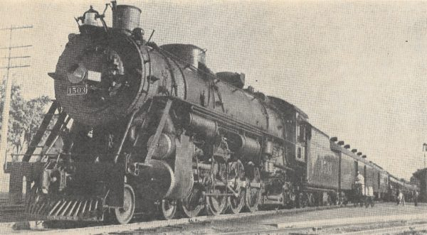 4-8-2 1503 on Train 25, The Meteor, at Chandler, Oklahoma (date unknown) (S.R. Wood)
