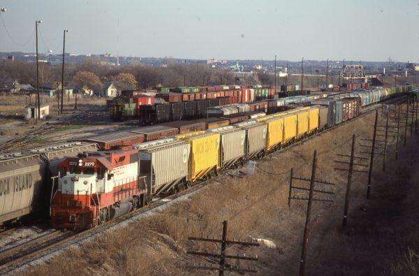 GP38-2 2270 (Frisco 415) at Fort Worth, Texas on February 15, 1981 (Bill Phillips)