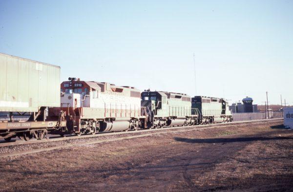 GP38-2 2312 (Frisco 457) at Lincoln, Nebraska on February 20, 1982 (P.B. Wendt)