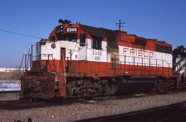 GP38-2 2345 (Frisco 675) at Tulsa, Oklahoma on February 14, 1982 (Jerry Bosanek)