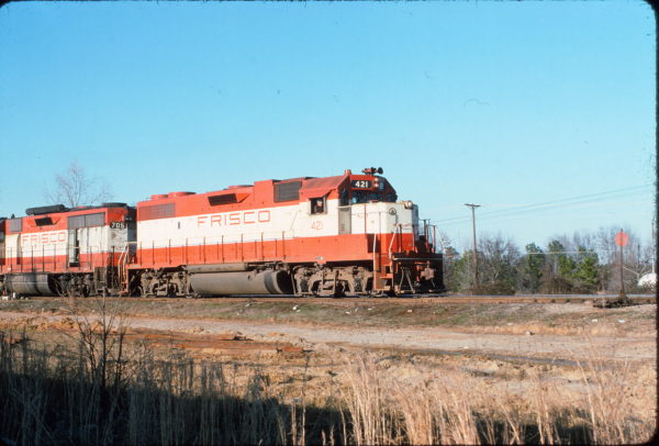 GP38-2 421 and GP35 705 at Amory, Mississippi in February 1975