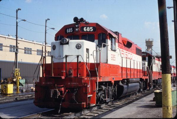 GP38-2 685 at Tulsa, Oklahoma on July 19, 1980 (James Holder)