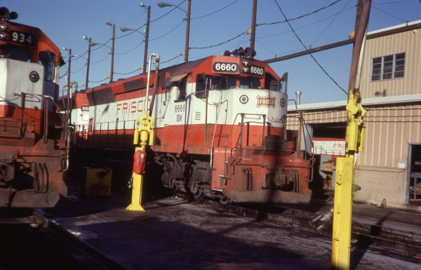 SD45 6660 (Frisco 911) at Tulsa, Oklahoma in December 1981