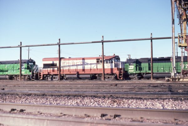 U30B 5793 (Frisco 855) at Lincoln, Nebraska on February 20, 1982 (P.B. Wendt)