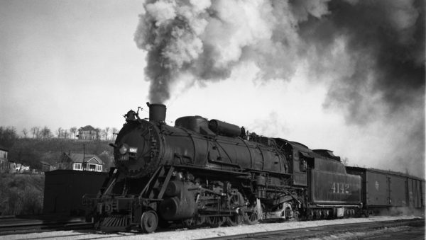 2-8-2 4142 at Rosedale, Kansas on March 3, 1936 (J.T. Boyd)