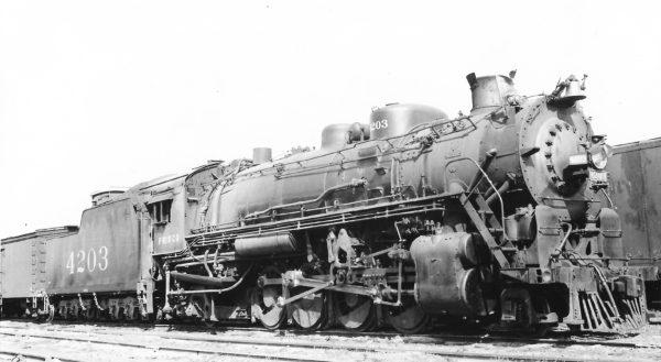 2-8-2 4203 at Birmingham, Alabama on May 18, 1948 (Arthur B. Johnson)