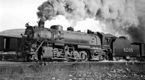 2-8-2 4205 at Rosedale, Kansas on February 18, 1939 (J.T. Boyd)