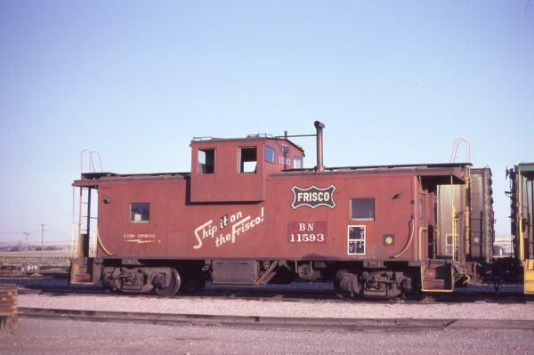 Caboose 11593 (Frisco 1265) at Laurel, Montana on August 25, 1981 (D.L. Zeutschel)