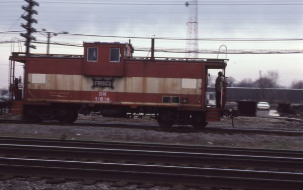 Caboose 11616 (Frisco 1288) at Eola, Illinois on March 29, 1985 (D.R. Halfield)