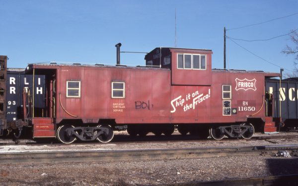 Caboose 11650 (Frisco 1420) at Ada, Oklahoma on December 27, 1981