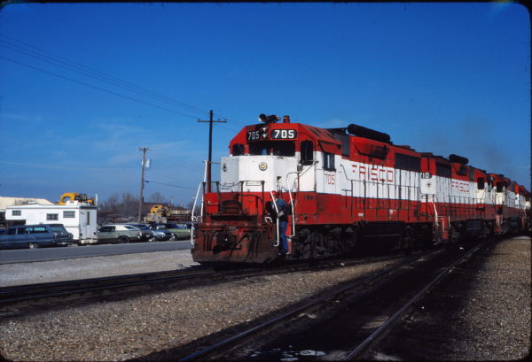 GP35 705 at Tulsa, Oklahoma in November 1980