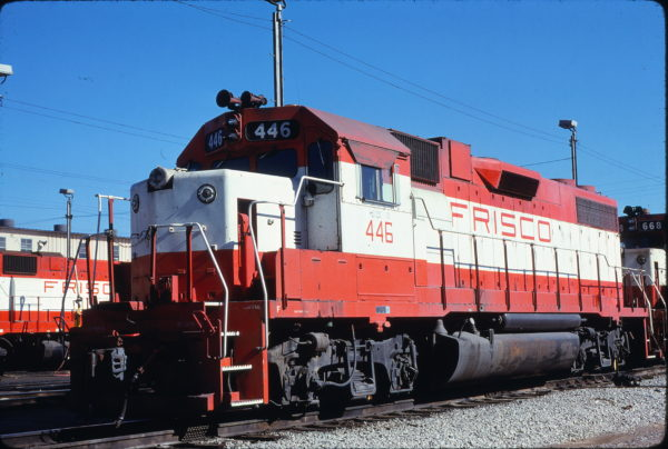 GP38-2 446 at Memphis, Tennessee in January 1981