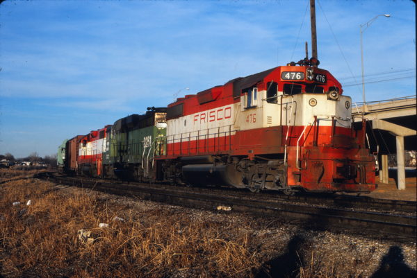 GP38-2 476 at Tulsa, Oklahoma on December 24, 1980