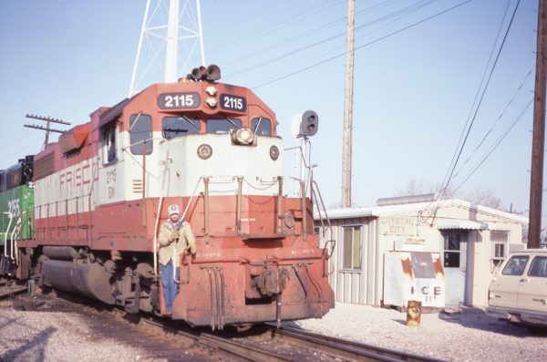 GP38AC 2115 (Frisco 638) at Crystal City, Missouri in January 1983 (Camille Chappuis)