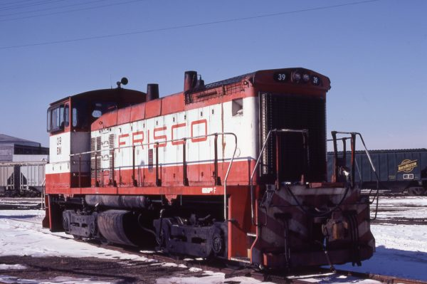 SW1500 39 (Frisco 334) at Kansas City, Missouri on February 13, 1981 (Jim Wilson)