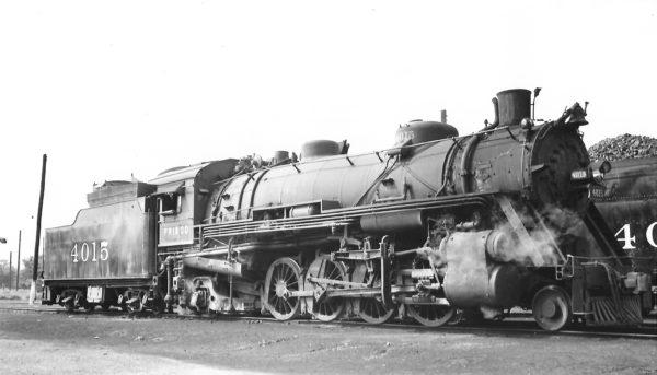 2-8-2 4015 at Neodesha, Kansas on May 31, 1948 (Arthur B. Johnson)