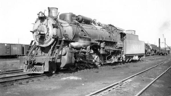 2-8-2 4164 at Monett, Missouri on March 7, 1948 (Arthur B. Johnson)