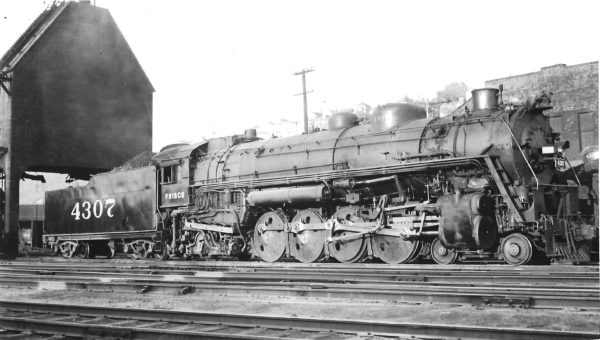 4-8-2 4307 at Kansas City, Missouri on June 27, 1947 (Arthur B. Johnson)