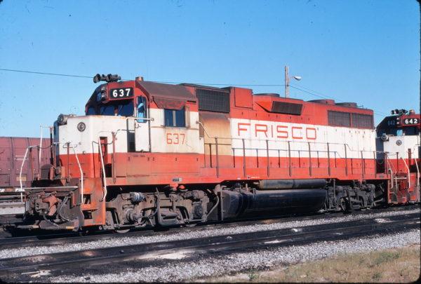 GP38AC 637 in the C&EI Dolton Yard, Chicago, Illinois on September 5, 1976