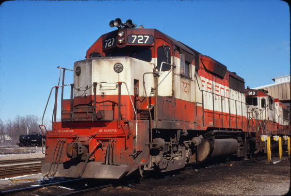 GP35 727 (location unknown) in March 1980 (James Holber)