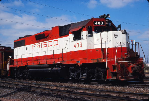 GP38-2 403 at Fort Worth, Texas on November 5, 1977 (Mel Lawrence)