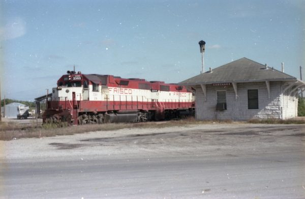 GP38-2s 2365 (Frisco 695) and 2314 (Frisco 459) (date unknown) at Carthage, Missouri