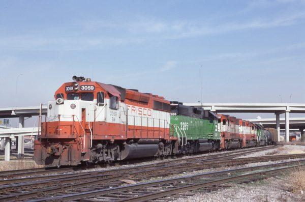 GP40-2 3059 (Frisco 769) at Dallas, Texas on February 17, 1983 (J.R. Quinn)