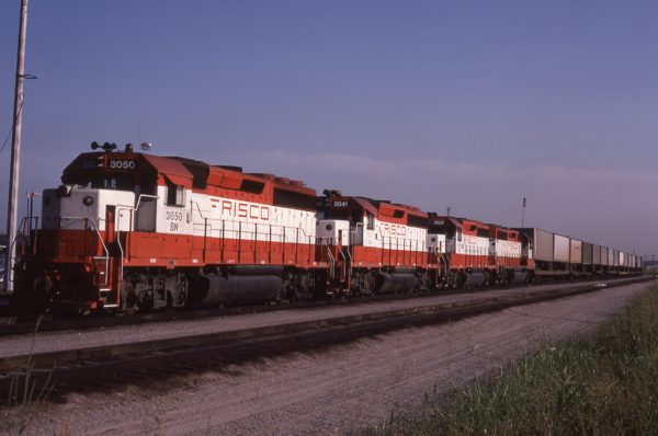 GP40-2s 3050 (Frisco 760), 3041 (Frisco 751) and 3056 (Frisco 766) at Tulsa, Oklahoma on August 5, 1982