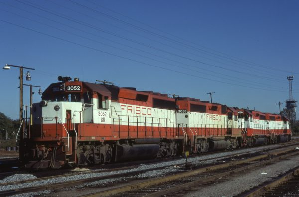 GP40-2s 3052 (Frisco 762), 3058 (Frisco 768), and 3056 (Frisco 766) at St. Louis, Missouri on October 20, 1981 (Ray Kucaba)