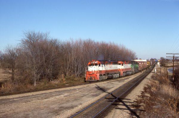 SD45s 6692 (Frisco 944) and 6676 (Frisco 928) at Springfield, Missouri on January 2, 1981