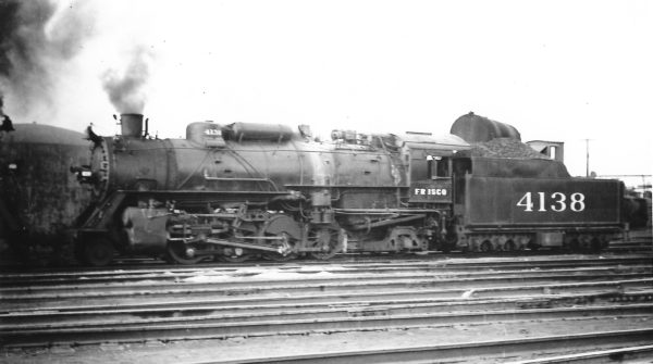 2-8-2 4138 at Springfield, Missouri on September 9, 1947 (Arthur B. Johnson)