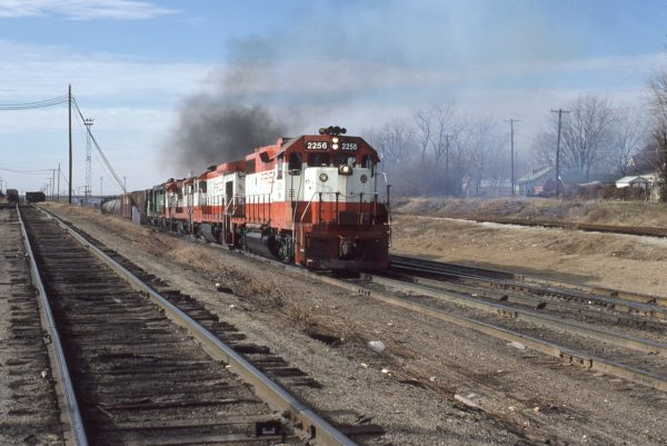 GP38-2 2256 (Frisco 401) at Springfield, Missouri in January 1981