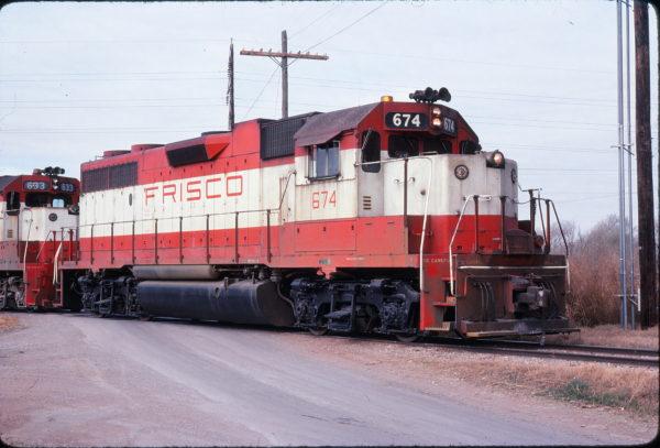 GP38-2 674 at Altus, Oklahoma on December 10, 1977 (Michael Reid)