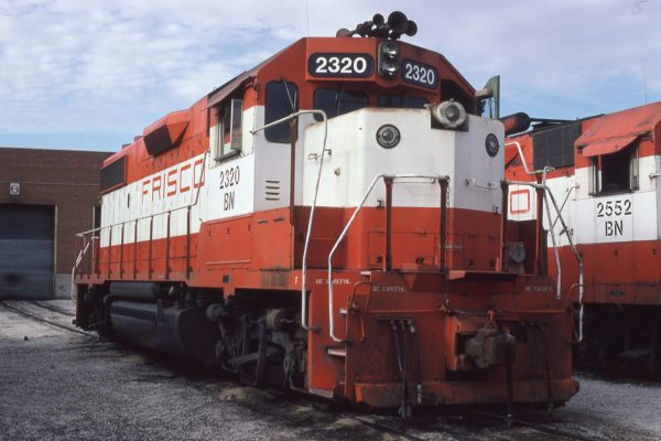 GP38-2 2320 (Frisco 465) at Springfield, Missouri in January 1981 (Dan Munson)