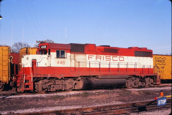 GP38-2 448 at Amory, Missouri on April 5, 1980 (David Johnson)
