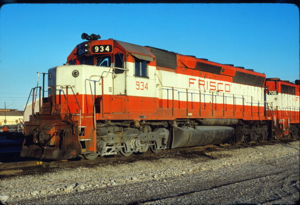 SD45 934 at Tulsa, Oklahoma on November 29, 1980 (David Stray)
