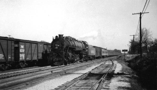 4-8-2 4416 arriving at Springfield, Missouri with a work extra on October 11, 1946 (Arthur B. Johnson)