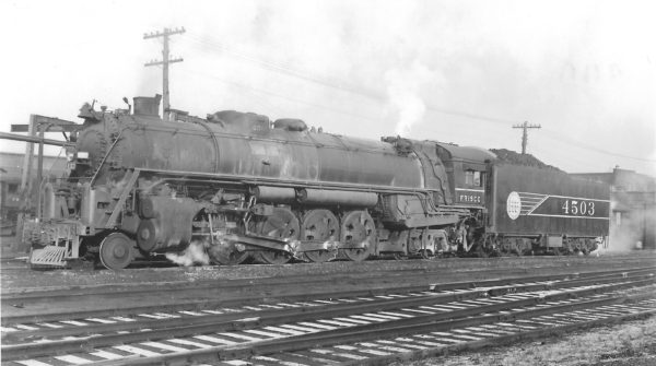 4-8-4 4503 at St. Louis, Missouri in January 1945 (Arthur B. Johnson)