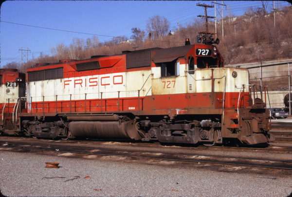 GP35 727 at Kansas City, Missouri in April 1975 (James Primm II)