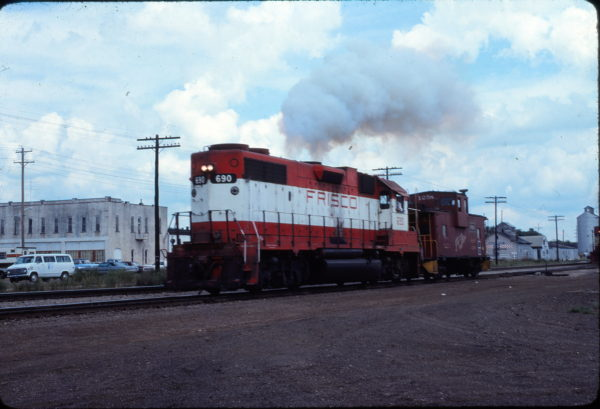 GP38-2 690 and Caboose 1258, Monett, Missouri in September 1979