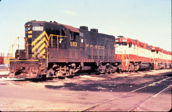 GP7 593, GP38AC 662 and GP38-2 667 at Fort Smith, Arkansas on March 17, 1975